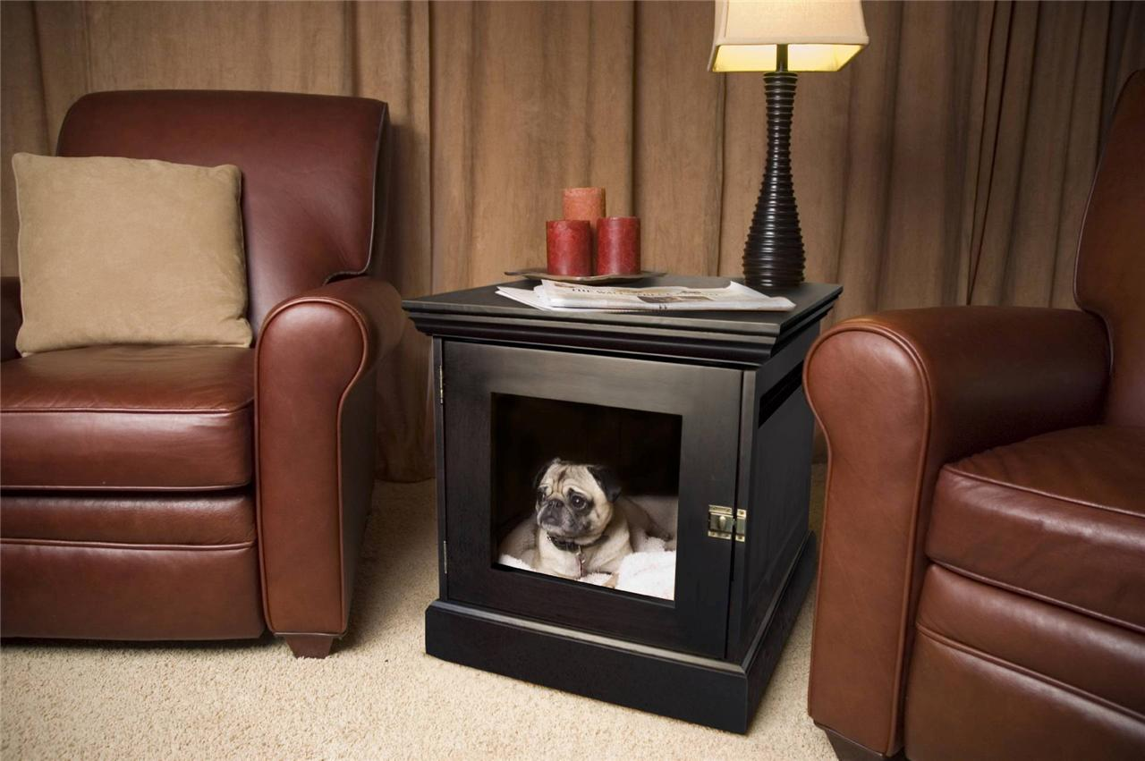 Elegant Black Dog Crate Sidetable With Black Stand Table Lamp Fixture And  Colorful Decorative Candles