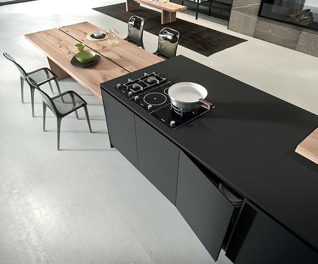 Elegant Black Nanotech Countertop With Built In Electric Stove Fixture  Simple But High Class