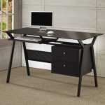 Elegant Black Slim But Wide Monitor Desk With A Additional Sliding Panela For Keyboard And Drawers A Flat Screen Computer With White Wireless Mouse And Keyboard