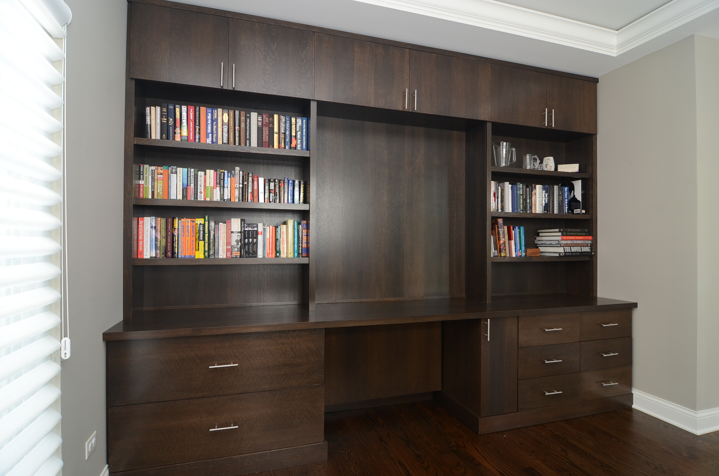 Extra Big Size Dark Wood Wall Shelving Unit With Center Desk And Under  Cabinet Systems Many