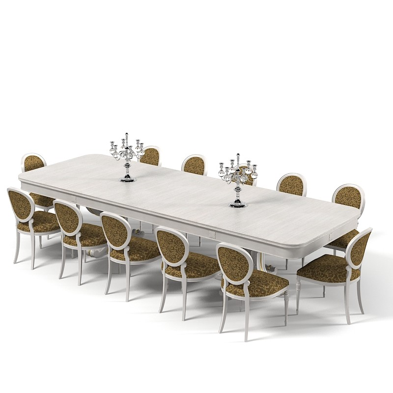 Extra Size Dining Table With 12 Seaters In Light Grey Tone Two Classic Chandeliers