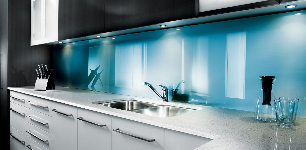 Fair Blue Acrylic Backsplash Idea Double Stainless Steel Kitchen Sinks And  Faucet Water Jar And Two