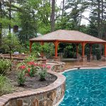 Fantastic Cool Adorable Fresh Nice Wonderful Outdoor Pavilion Plan With Small Compact Design Made Of Wood With Nice Beautiful Flower And Pool