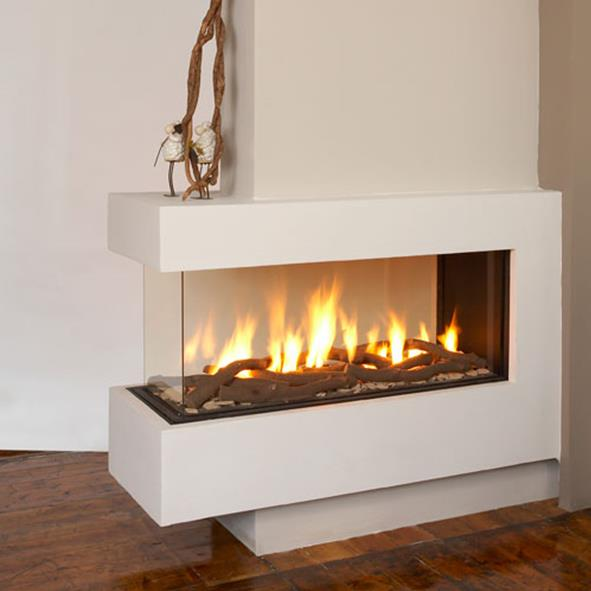 Creative modern 3 sided gas fireplace design homesfeed for Modern fireplace gas