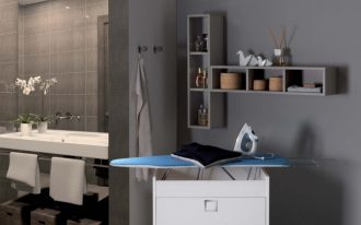 folding iron board that can be stored on the cabinet casual and minimalist grey shelves unit an iron unit a bathroom vanity