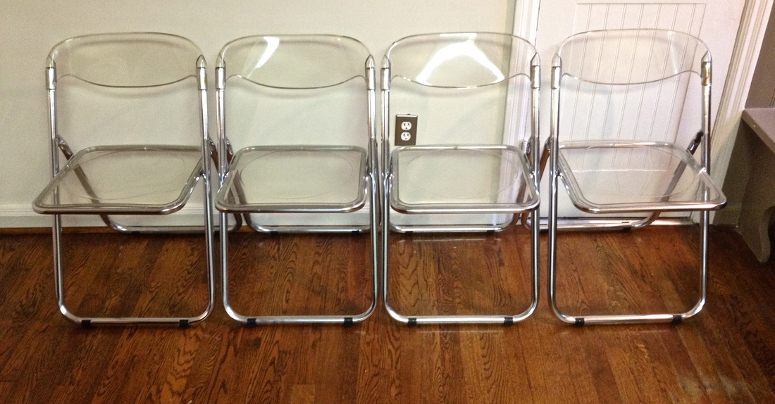 Four Sets Of Folded Lucite Chairs With Transparent Seating And Back Panels  Brushed Hardwood