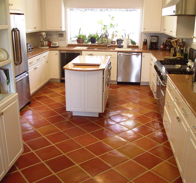 Great Genial Glossy Brown Tiles Kitchen Flooring Centered Kitchen Island With  Drawers And Wood Top Luxurious Kitchen