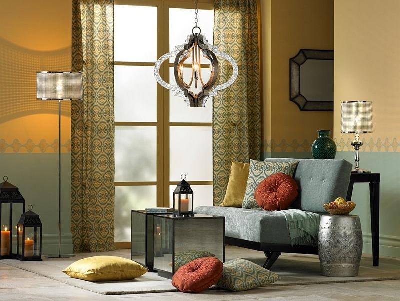 Gray Sofa Colorfu Cushion Beautiful Lighting Fixtures Morrocan Accents Stool Creame And Light Blue Wall Lantern