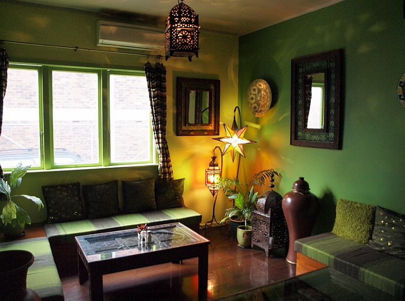Green Painted Wall Wooden Floor Wooden Coffee Table Lantern Shaped Lamp  Moroccan Accent Decorations Beautiful Standing