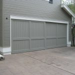 grey-toned wood barn door idea for garage