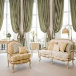 high-class large green window curtain decorations living room furniture in classic style a classic console with glass vase and flower decoration standing lamp with curved-hanger and metal stand