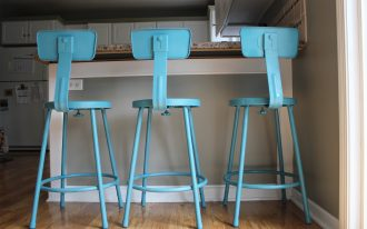 high legs turquoise bar stools with back feature