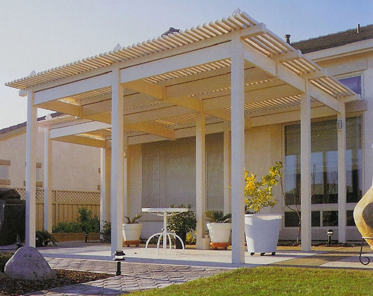 Higher Soft Wood Lattice Patio Cover With Pillars Minimalist Patio  Furniture Some White Concrete Planter Pots