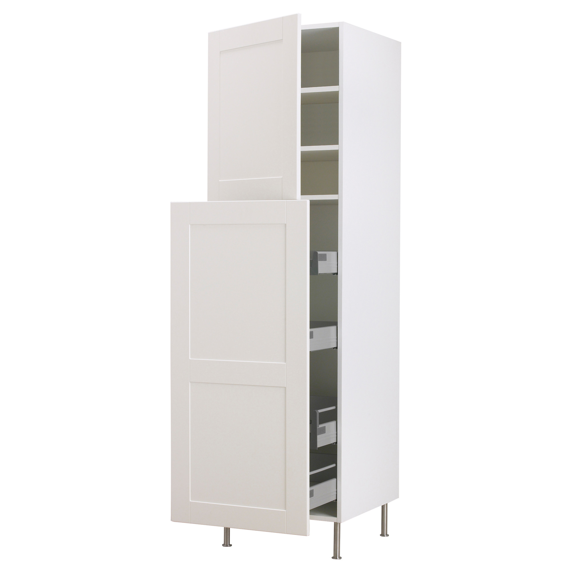 Higher White Pull Out Storage With Metal Legs