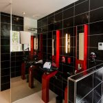 interesing black and red bathroom with multiple sink with alluring lgossy style also flat roofing in tile flooring