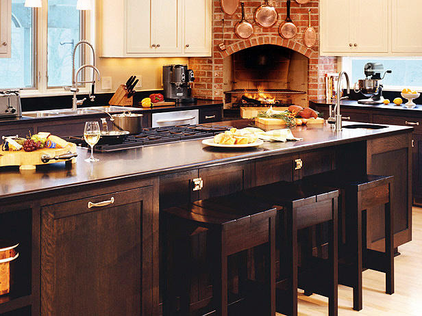 kitchen island with bar seating, simple and practical solution to