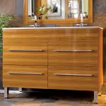 large and high wood finishing bathroom vanity with double sinks and stainless steel faucets large bathroom mirror with wood-finishing frame