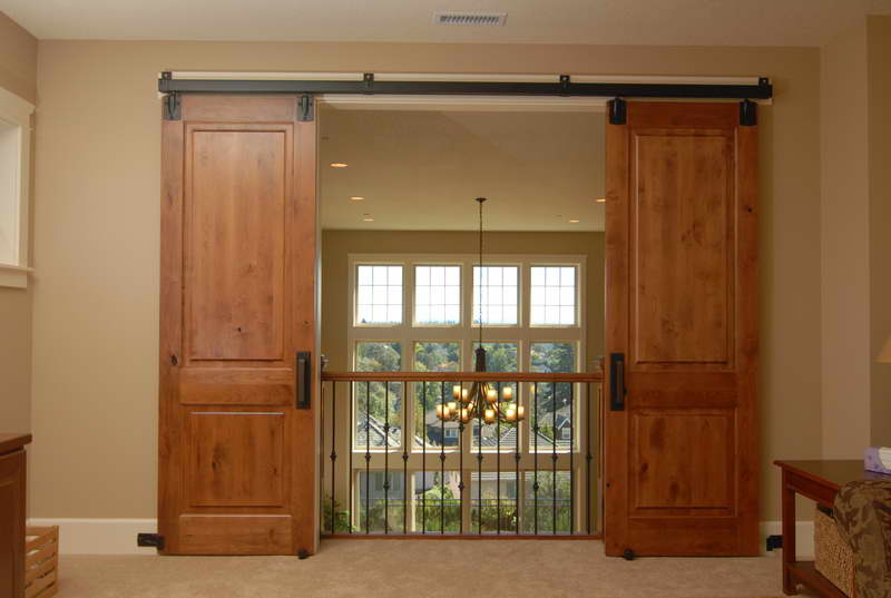 Large Barn Sliding Door With Black Metal Slider Track