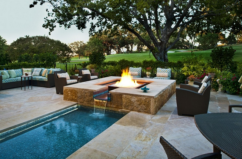 Large Permanent Table With Water Fountain Looks Like Fire Patio Furniture  Sets Large Green Garden Small