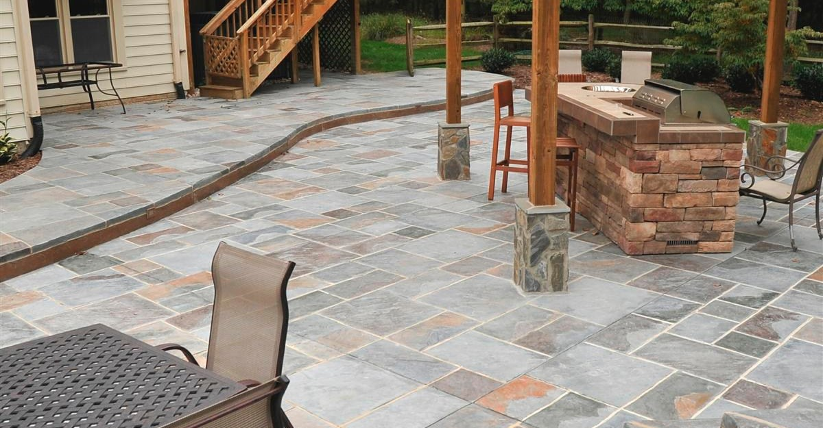 Large Tiles For Backyard :  Stones Best Choice for Outdoor Flooring Over Concrete  HomesFeed