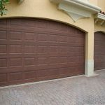 large wood panel for garage door in natural wood color