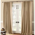light brown long curtains for French door small and low table for putting the books