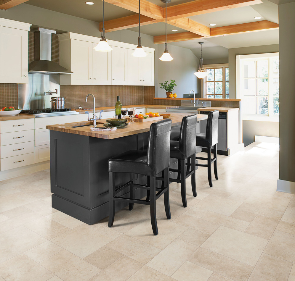 Light Grey Vinyl Floor Classy Black Kitchen Island With Hardwood Top Three Wood Dining Chairs In