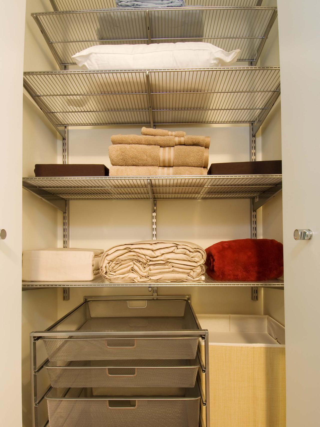 Linens Closet Storage With Various Type Shelves Linens Kinds Such As  Pillow, Blanket, Bed