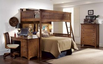 loft with double bed units and desk in rustic style a storage system movable chair light brown carpet