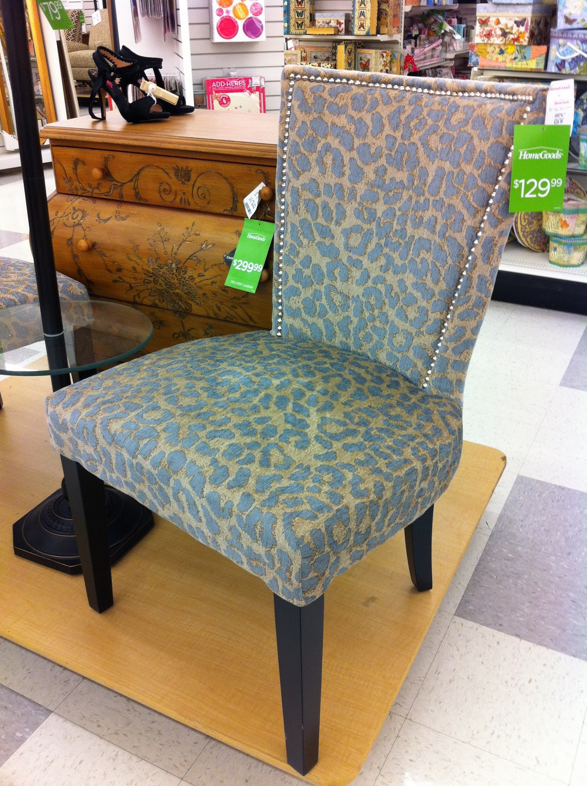 Superieur Luxurious Dining Chair With Light Blue Patterns Designed By TJ Maxx