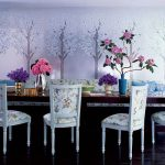 Luxurious Dining Furniture With Hig Class And Gold Tone Dominant Floral Patterns Several Flower Arrangements Beautiful Sakura Wallpaper