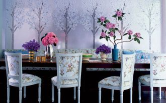 luxurious dining furniture with hig-class and gold-tone-dominant floral patterns several flower arrangements beautiful Sakura wallpaper