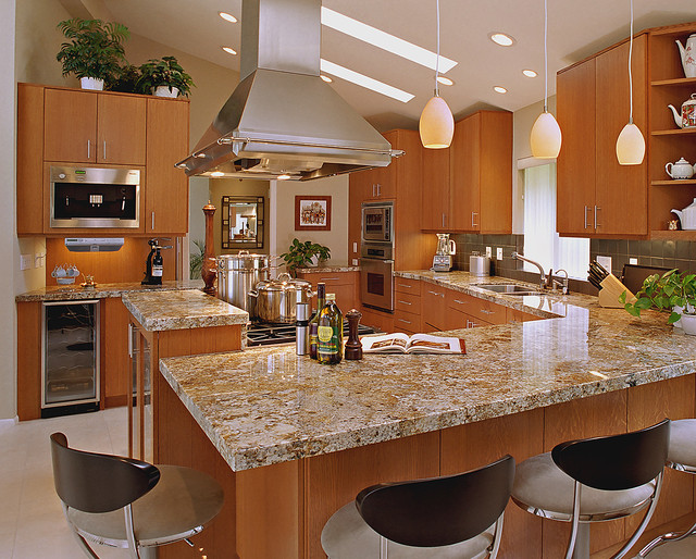 Luxurious Granite Kitchen Island With Seating Contemporary Set Modern Liances Casual Pendant Light