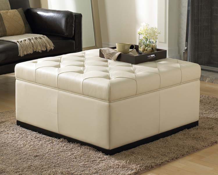 Luxurious White Storage Ottoman Comfy And Elegant Black Leather Coat Sofa A  Wool Blanket Smooth
