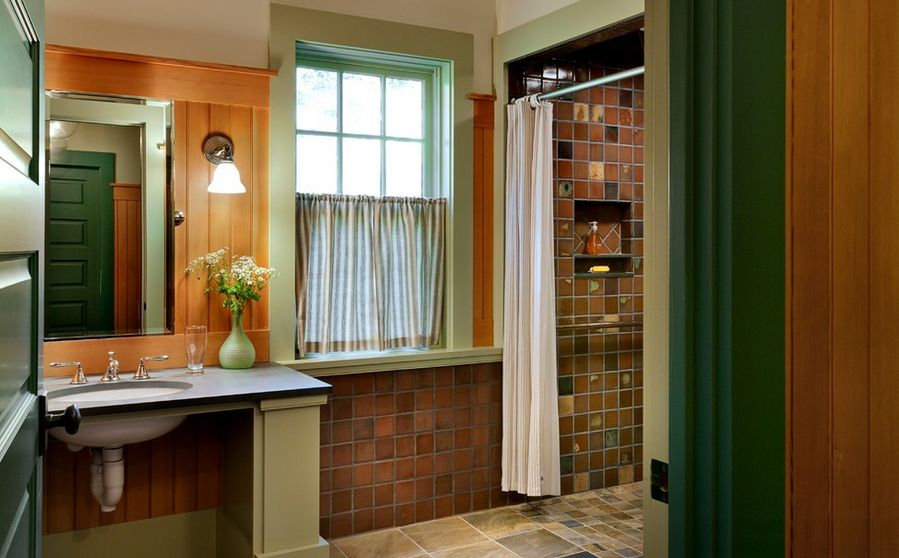 Choosing the right bathroom color scheme to show your for Orange and brown bathroom ideas