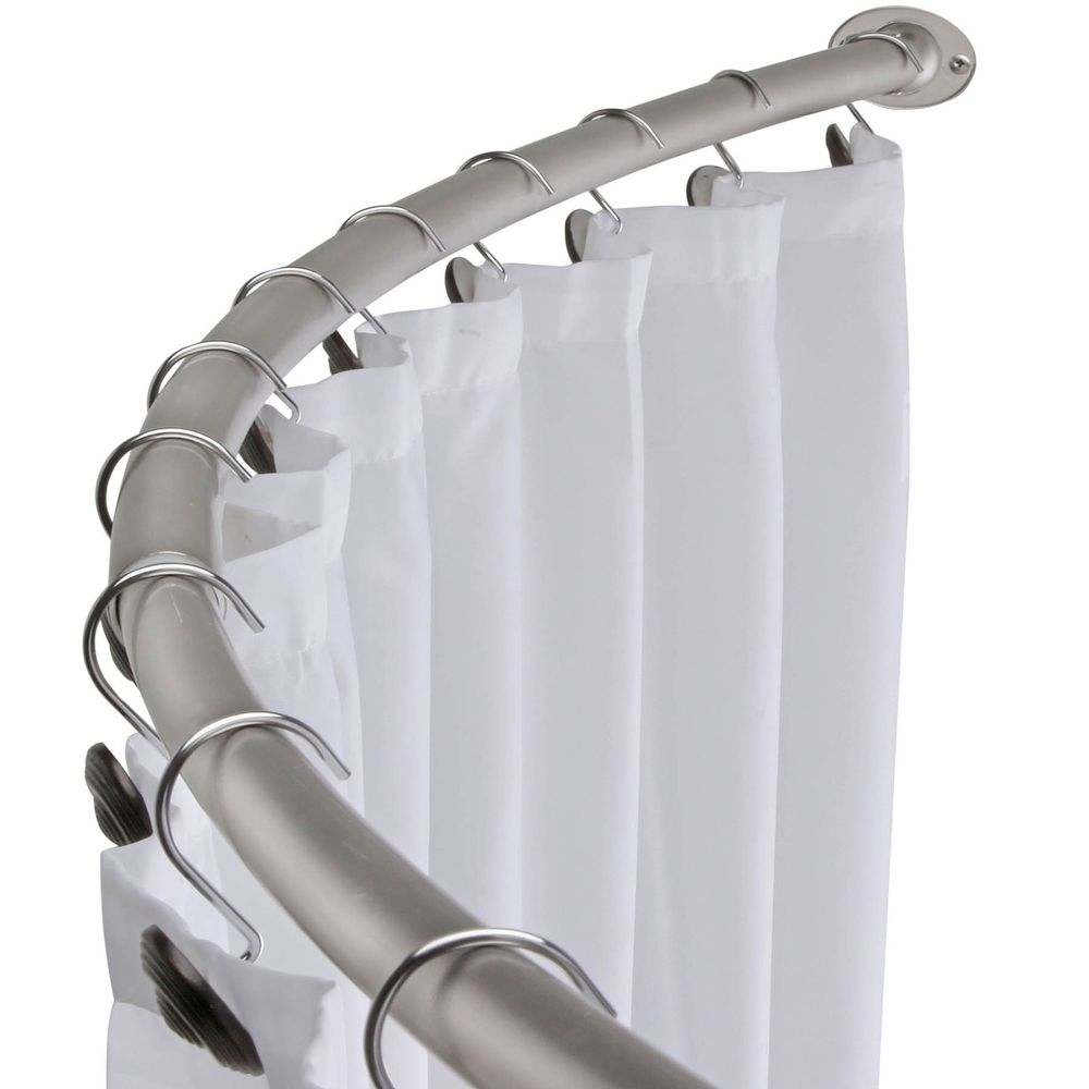 Metal Curved Curtain Rod For Shower Area With Simple Stainless Steel Clip Hooks White
