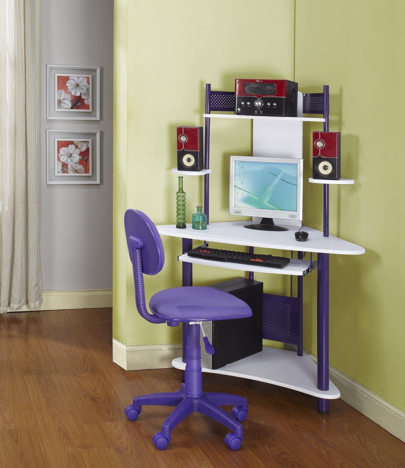 mini and colorful corner desk with under sliding panel for keyboard and lowest panel for cpu