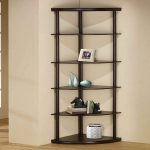 minimalist black corner bookshelves unit few books collection  a picture frame in white color ornament items