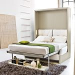 minimalist folded-bed design  with under single shelf for books and some decorative items cozy black fury carpet for bedroom