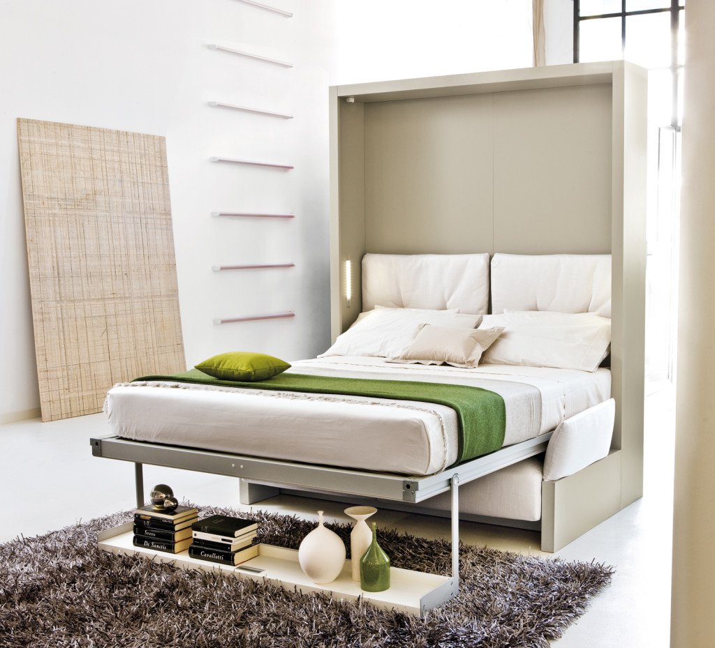 Fold up wall bed a larger room maker homesfeed minimalist folded bed design with under single shelf for books and some decorative items cozy amipublicfo Images