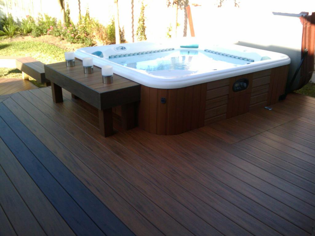 Wood Dining Room Decks With Hot Tubs The Outstanding Home Deck Design