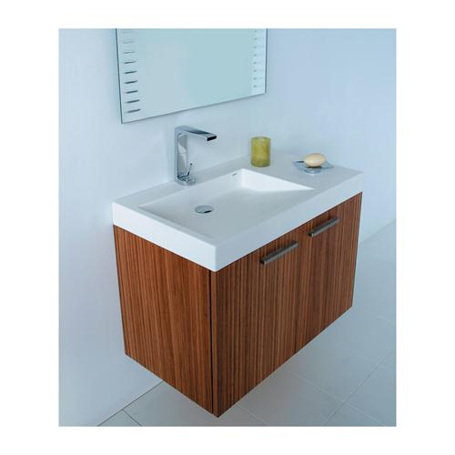Minimalist Mini Vanity Bathroom Vertical Clear Lines Patterns Single Vessel Sink Stainless Steel Faucet Simple Frame Mirror Decoration White Ceramic Flooring Clean Mid Century Modern Wood