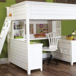 minimalist white loft bed for adult with desk and cabinet system a movable chair  green wall color hardwood floor system