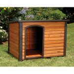 minimalist wood planks dog house with natural wood finishing