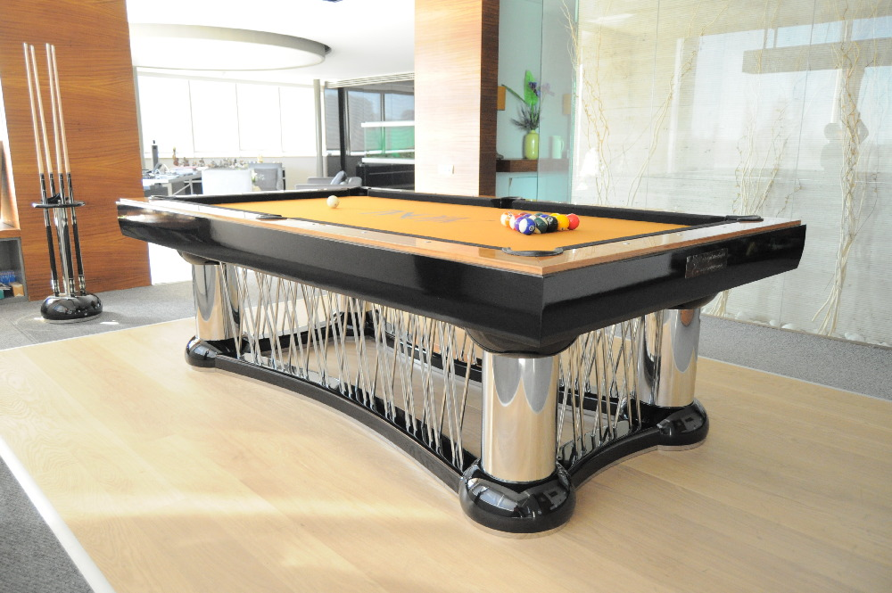 Modern And Unique Private Pool Table With Yellow Surface For Playing  Billiard And Under Metal Cage