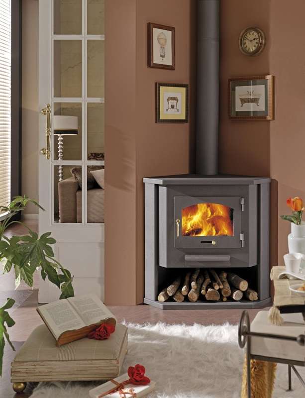Corner wood burning stove functional and interior beautifier homesfeed for Living room with wood burning stove