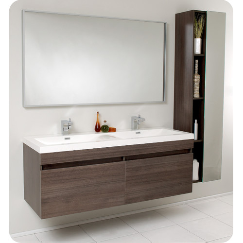 Modern Floating Bathroom Vanity With Double Vessel Sinks And Faucets Large  Frameless Decorative Mirror For Bathroom
