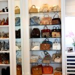 modern minimalist handbag cabinet with full of handbag collections