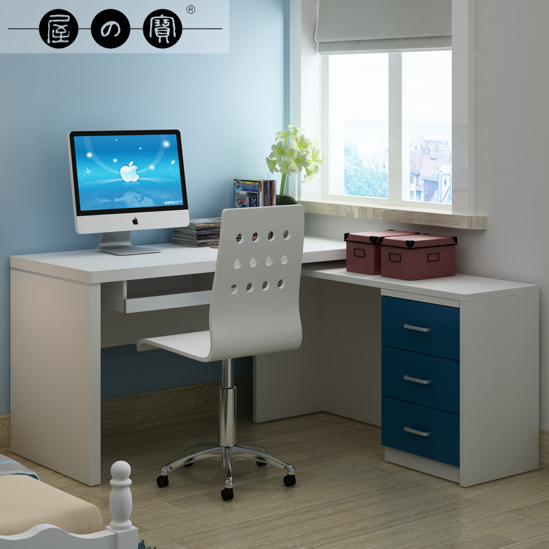 modern minimalist small corner computer desk with under sliding panel two brown boxes for storage fresh
