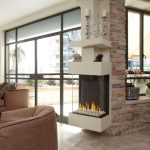 modern minimalist three sided  gas fireplace mantel with transparent glass  cover